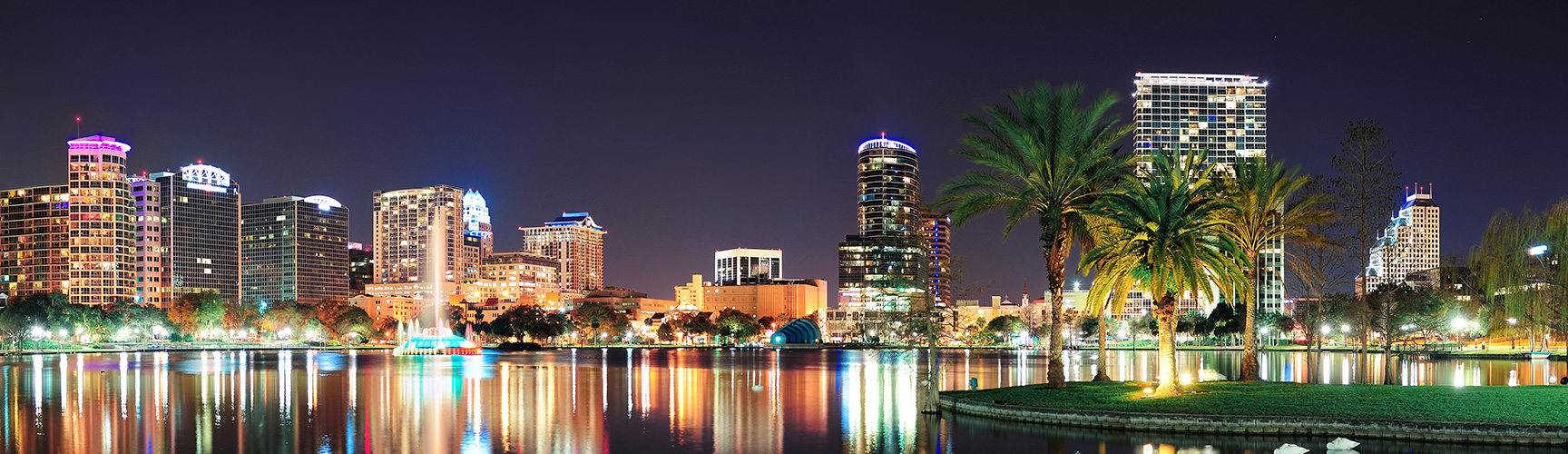 View of the Orlando skyline at night