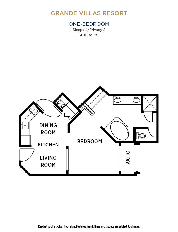 One Bedroom Suite floor plan at Grande Villas Resort in Orlando, FL